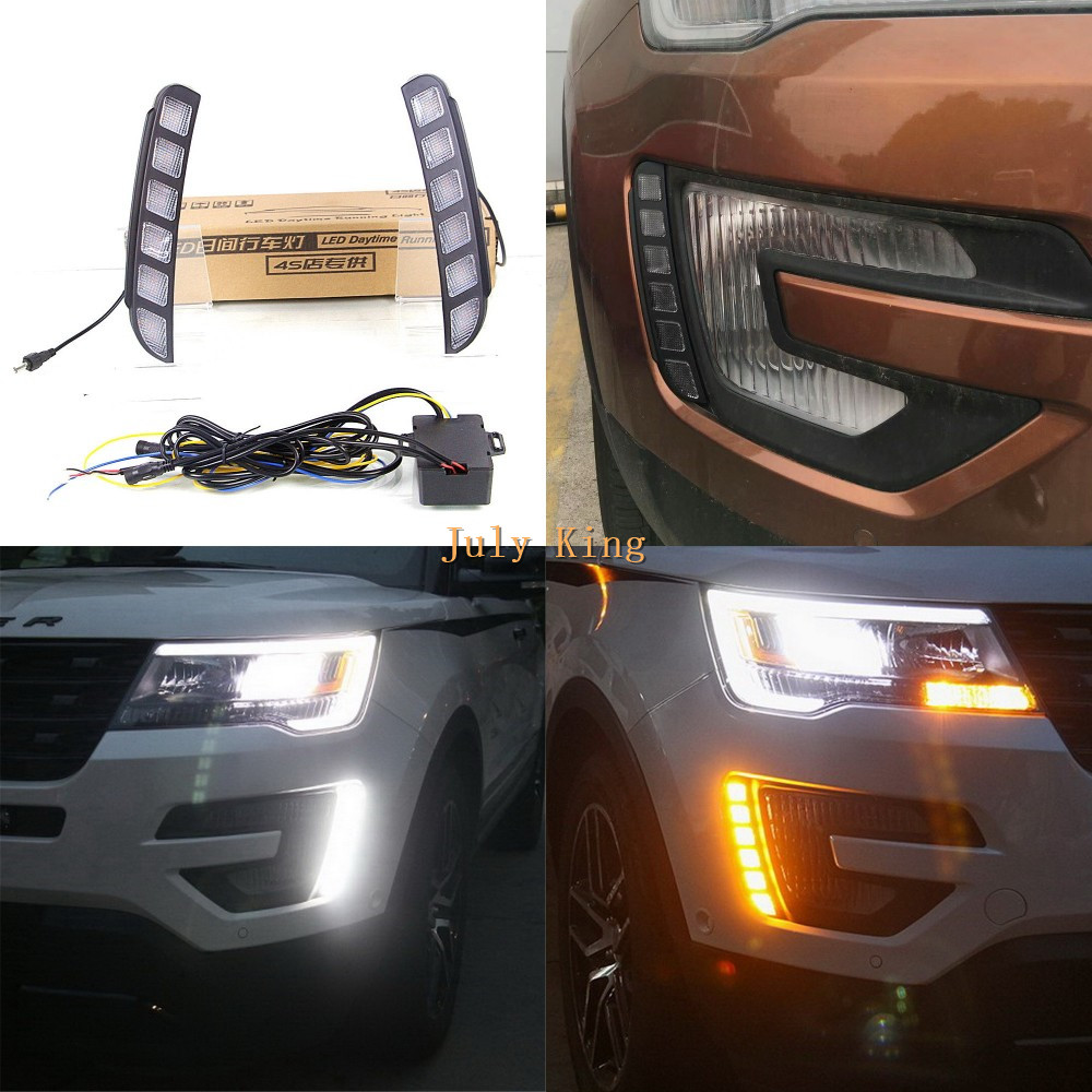 July King LED Daytime Running Lights Case for Ford Explorer 2016-2017, LED Front Bumper DRL With Yellow Turn Signals Light free shipping for ford maverick escape kuga 2013 led drl daytime running light super bright with yellow turn signals