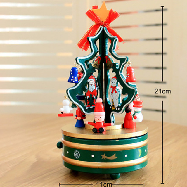 dream christmas wooden carousel magic rotate trojan horse music box of eight box christmas tree