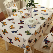 2018 New Japan Polyester cotton Tablecloth butterfly pattern Dust-proof Home Dining Table cloth Christmas Banquet Cover