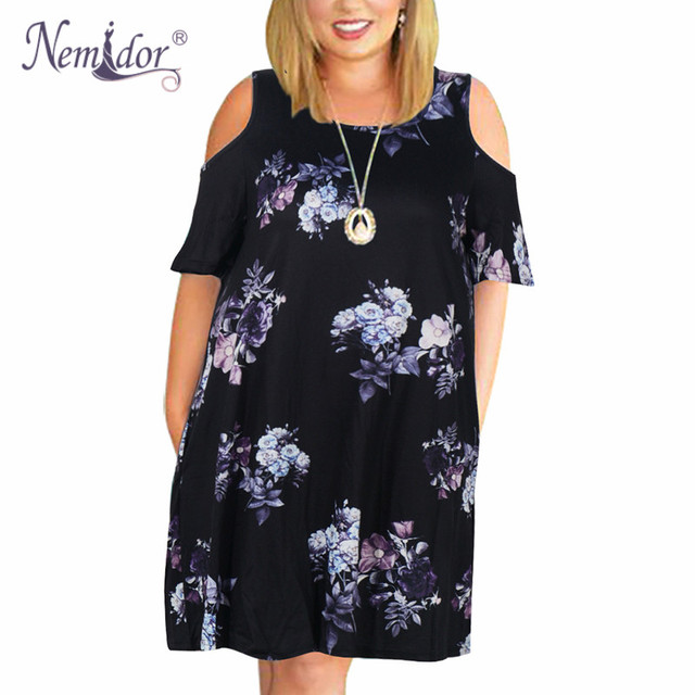 Nemidor Women Casual O Neck Off The Shoulder Midi Plus Size Summer