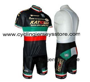 Katusha National Champion Italy Black 2010 Cycling Jersey and Bib Shorts Set