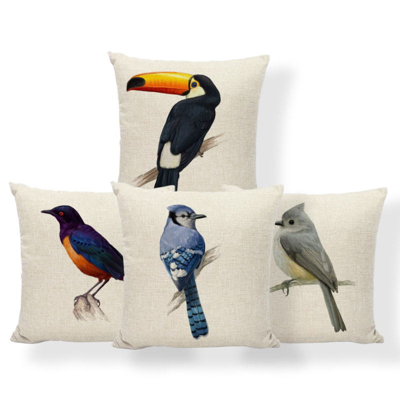 Goldfinch Macaw Toucan Cushion Covers Blue Jay Bird Pillow Nordic Style Hotel For Kids Pillowslip Covers Small Burlap Colorful