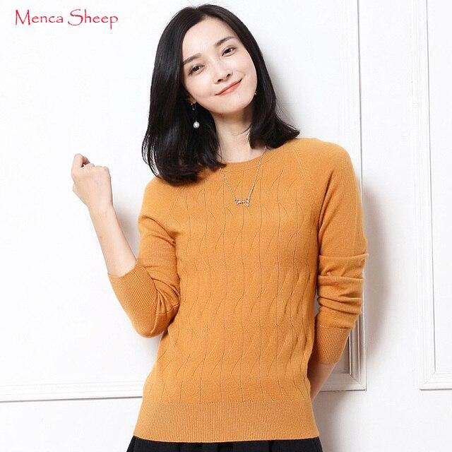 US $60.0 |Menca Schafe Marke Neue Ankunft Frauen Pullover 100% Kaschmir Pullover Oansatz Mode Warme Strickwaren Mädchen Mode Stricken kleidung in