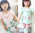 2015 Hot Sale Clothing Set Clothing Sets Kids Clothes Brand Children's Summer Suit Korean Flower Cotton Fashion Beautiful Girl