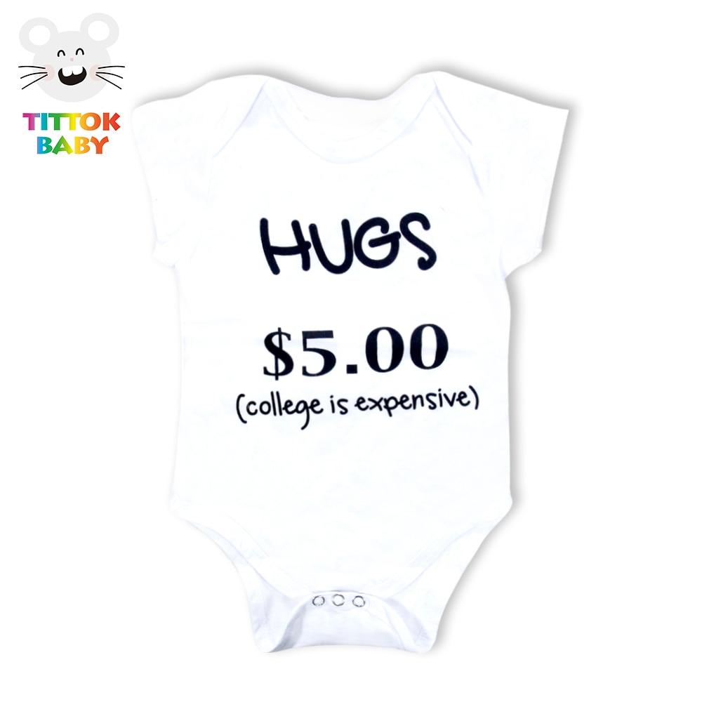 2017 Baby Bodysuits Hugs $5.00 Letter Print White Short Sleeves Baby Wear Bodysuits Baby Onesie Newborn Clothes Infant Baby
