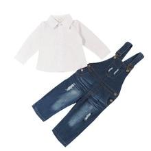 купить girls clothing sets jeans rompers and long sleeve shirts 2pcs sets autumn kids clothes fashion children clothing sets дешево