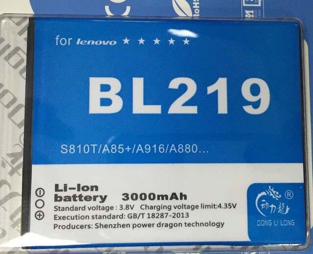 BL219  Battery For Lenovo A880 Battery S856 A889 A890e S810t A850+ A916 2500mAh Batteri Donglilong