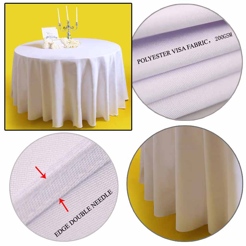 10pcs Polyester Visa round Cocktail White Plain table cover party restaurant wedding table cloth event hotel Banquet Table Linen