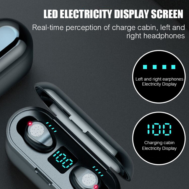 Bluetooth V5.0 F9 TWS LED Display Earphone With 2000mAh Power Bank Headset and Microphone