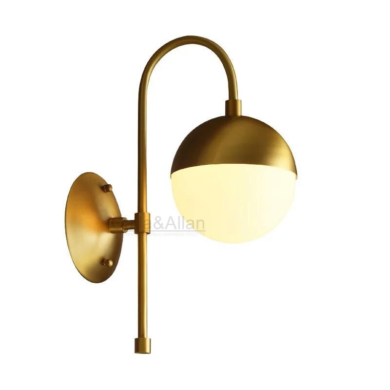 Quality Brass White Globe Glass Wall Sconce Brass Wall