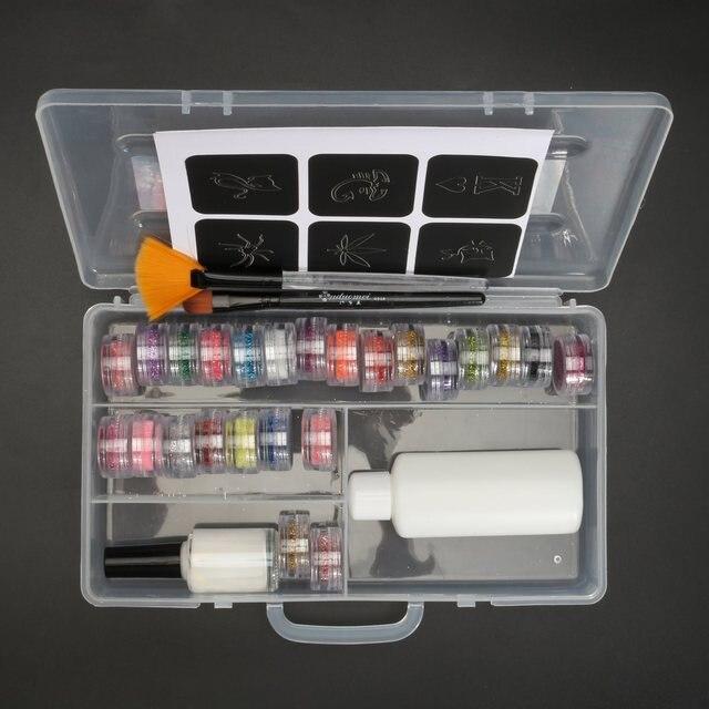 24 Colors Powder Temporary Shimmer Glitter Tattoo Henna Kit For