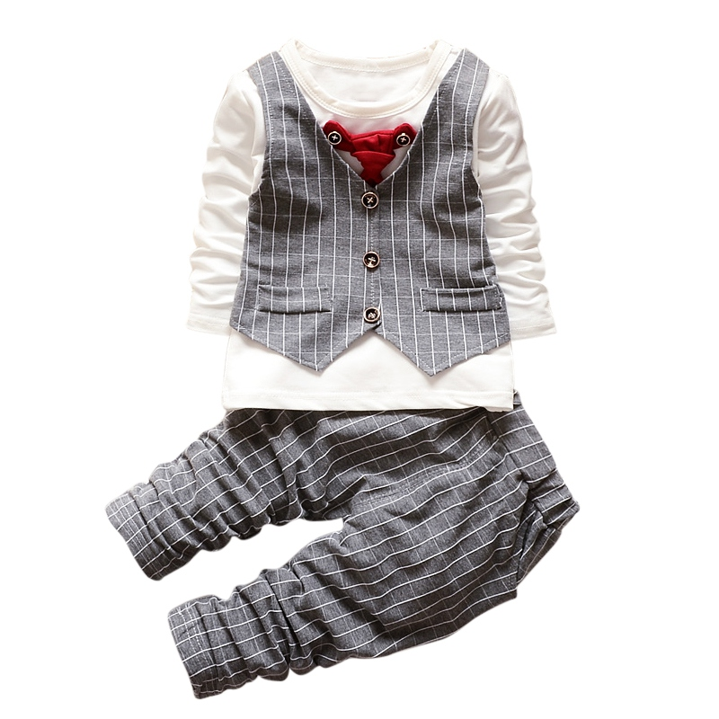 Baby Gentleman Formal Baby Boys Suit Long Sleeve Striped Tops Shirt + Pants 2Pcs Cotton Outfits S01 boys clothes brand 2017 autumn boys gentleman set baby boys striped long sleeve shirt denim long overalls pants 2pcs sets 4
