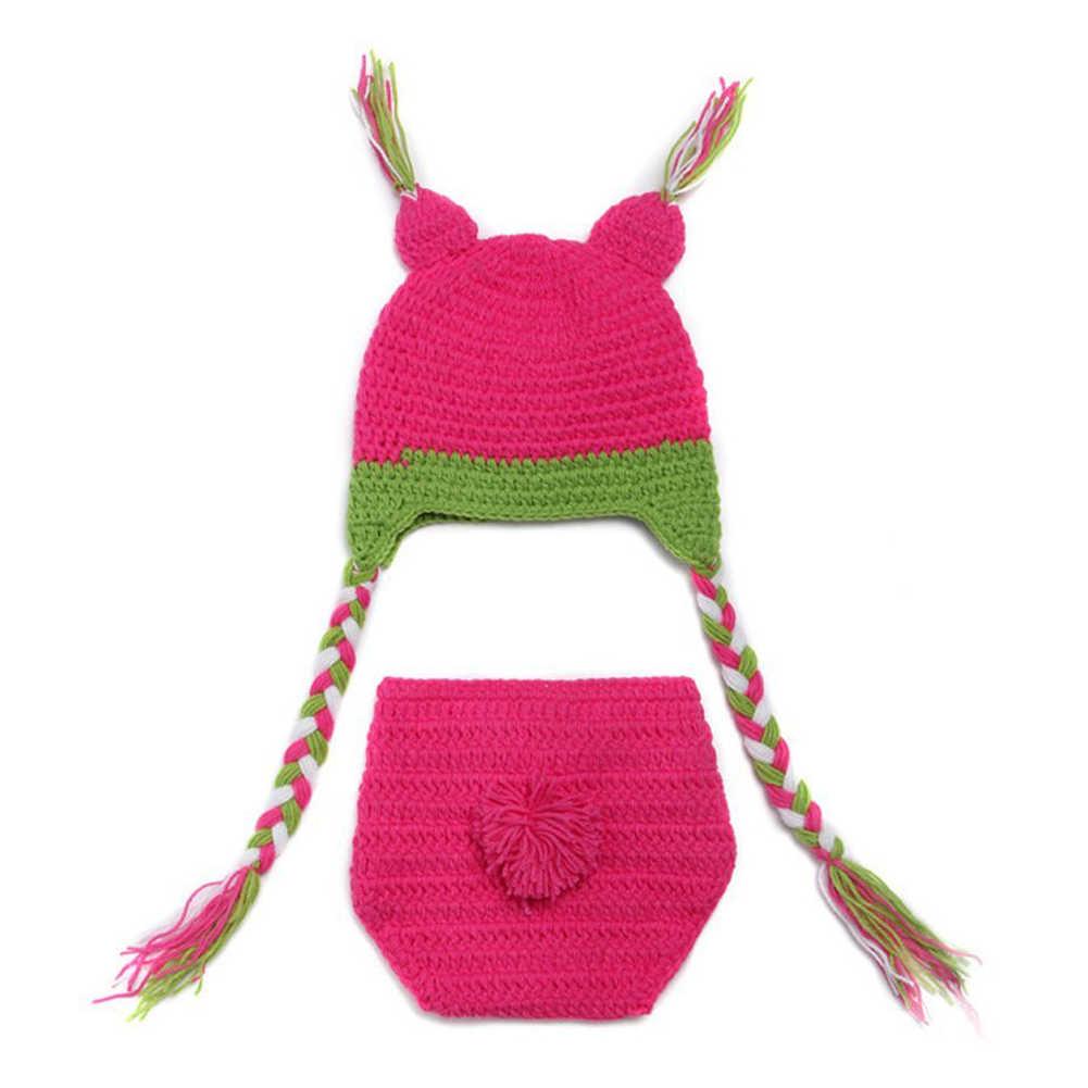 Dolce Del Gufo Del Bambino Della Ragazza photoshoot Del Crochet Del Knit Costume Beanie + Pantaloni