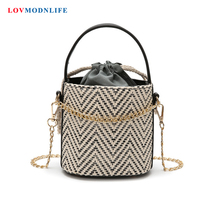 Straw Bag For Women 2019 Summer Ladies Handbags Small Bucket  Female Weave Bag Leather Bohemian Shoulder Woven Beach Tote Bags aelicy summer women durable weave straw beach bag feminine woven bucket bag grass casual tote handbags knitting rattan bags