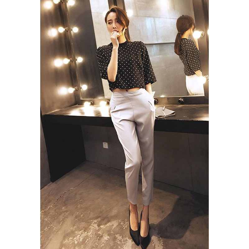 2017 Summer Spring Chiffon Las Trousers Office Fashion Style High Waist Women Baggy Harem Pants Color Gray Black Dy5 In Capris From S