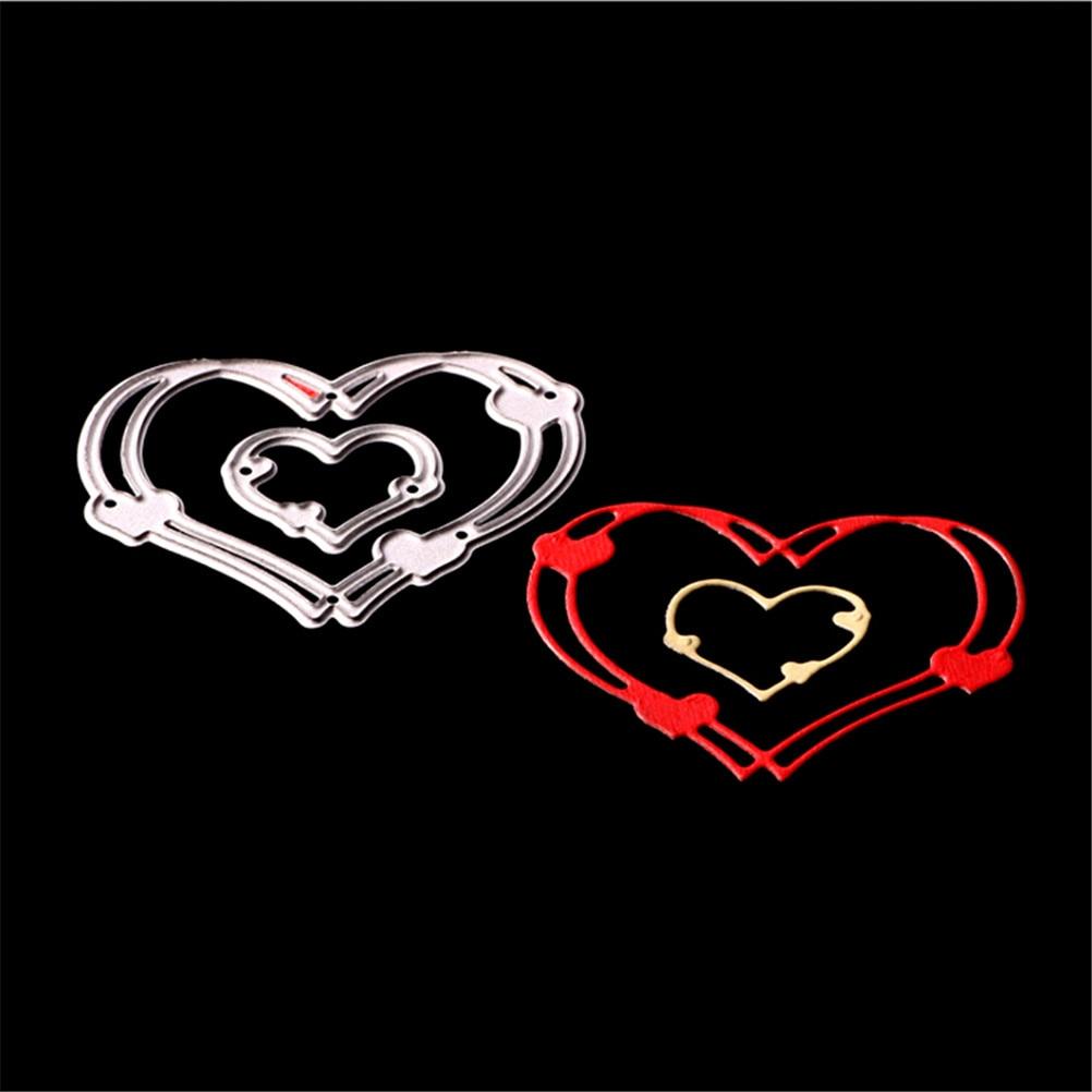 2pcs/lot For DIY Scrapbooking Photo Album Decorative Embossing Folder Love Heart Metal Die Stenciles In Scrapbooking Die Cuts