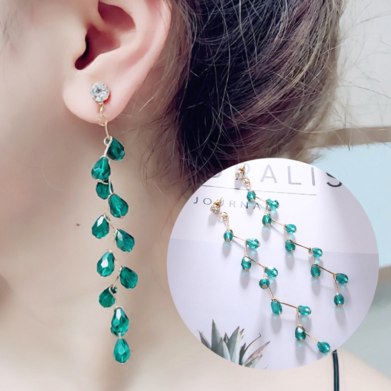Modern Womens Earrings 2018 Vintage Long Fringe Green Crystal For Women Accessories Jewelry Gift