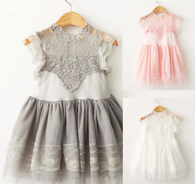 Ccsme dhl niñas princesa niños party dress casual lace dress desgaste de los niños 4 colores