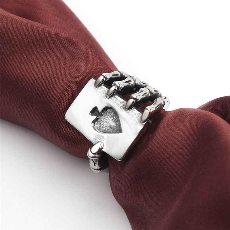 ออกแบบ VINTAGE เล่นการ์ดแหวนผู้ชาย Gothic Skull Hand Claw โป๊กเกอร์แหวนโบราณเงินสีคลาสสิก Cool คนรักเครื่องประดับ