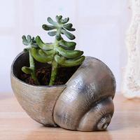 1pc Mini Snail Shape Flowerpot Bonsai Succulent Plants Container Pots Resin Craft Home Gardening Decoration L30