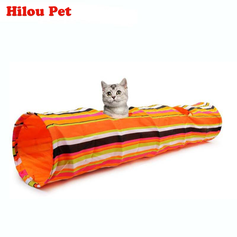 Pet Colorful Striped Squeak Tunnel Rabbit Kitten Collapsible Tunnel Cat Foldable Toy Long Play Tunnel Dog Products Bulk Crinkle