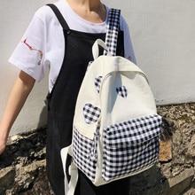 Sweet Backpack Love Grid Pink School Bag for Teenage Girls 100% Cotton Canvas Leisure Or Travel Bag Large Capacity Shoulder Bag недорого