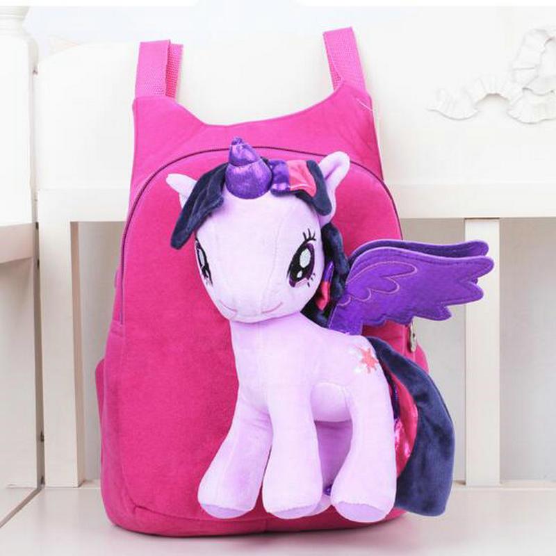 Lovely Cute Baby font b Kid b font Schoolbag Cartoon My Little Pony BagPacks Children Zipper