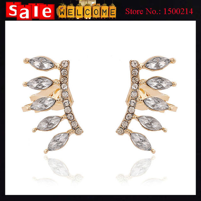 12Pairs Wholesale Left Arc Crystal Ear Golden Crystal Cuff Earring Rhinestone Clip Earrings for Women Punk Statement Jewelry