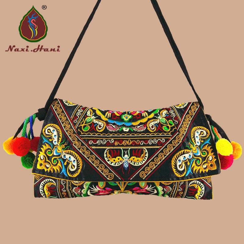 957b041c48390 Vintage nakış kadın çanta tuval kapak omuz askılı postacı çantaları etnik  bez küçük çanta