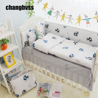 4PCS Customized Size Unisex Baby Bedding Boy Sets In Cot 100 Cotton Crib Bedding Sets For