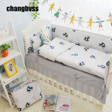 4PCS Customized Size Unisex Baby Bedding Boy Sets In Cot 100% Cotton Crib Bedding Sets For Girls In a Crib For Newborn Baby