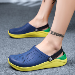 2019 Men Sandals Rubber Clogs Shoes Hole Shoes EVA Sandalias Summer Beach Shoes Slippers Cholas hombre High Quality Blue Shoes