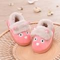 Ребенок хлопка мягкой зимой тапочки мужчины обувь для девочек мультфильм детские тапочки утолщение тепловой хлопка мягкой домашние плюшевые тапочки