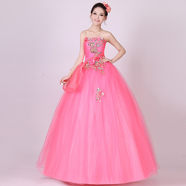 b68abacba02 Custom Made 2017 Light Pink Ball Gown Quinceanera Dress Applique Handmade  Flowers Lace Up Floor Length Strapless Prom Dresses