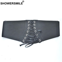 SHOWERSMILE Pu Leather Belt Women Elastic Cummerbund Bandage
