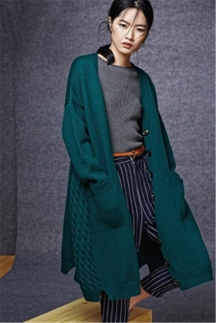 100% Hand Made Pure Wool Thick Knit Women Fashion Wide Loose Single Breasted Long Cardigan Sweater Coat One&over Size