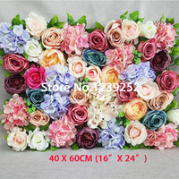 NEW 40x60cm Artificial Mix Silk Flowers Wall Decoration for Banquet Decorative Flowers Wall Wedding Dance Costume Backdrop Wall
