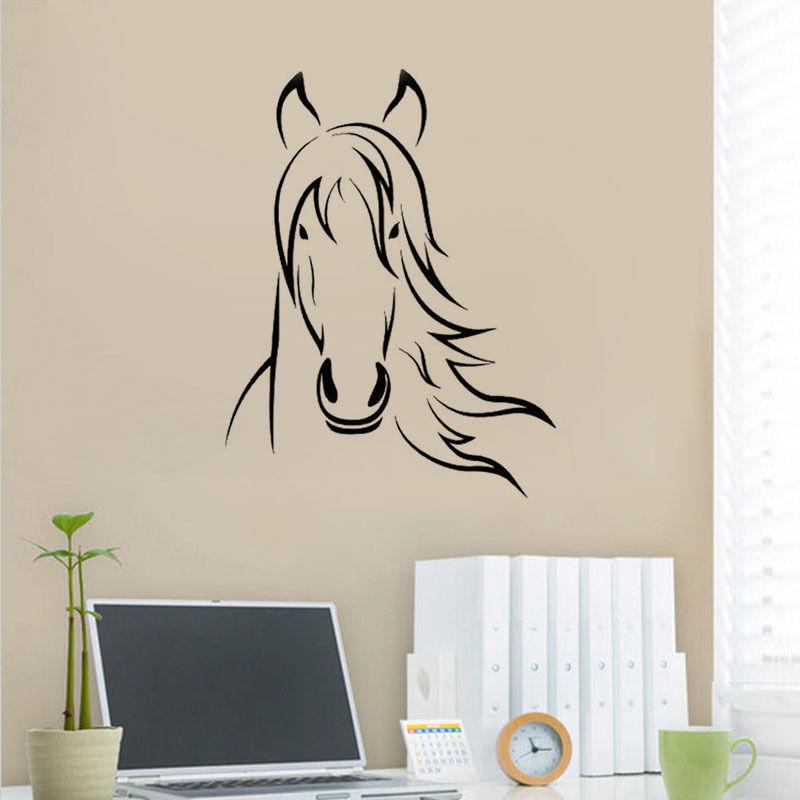 Aliexpress.com : Buy Horse Face Wall Sticker Horse Bedroom ...