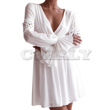 CUERLY New White Crochet Dress Women Long Sleeve Elegant Short Dress Back Cut out Button Party Mini Dress Robe Femme Vestidos concise cut out raglan sleeve black dress for women