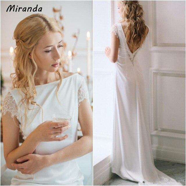 Simple Elegant Long Sleeve V Neck A Line Lace Top Satin: Elegant Satin Wedding Dress With Lace Sleeves V Backless