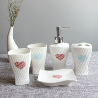 Houmaid Ceramics Bathroom Tooth brushing Cups Toothbrush Holder Soap Holder Set Porcelain Shower Room Liquid Soap Dispensers
