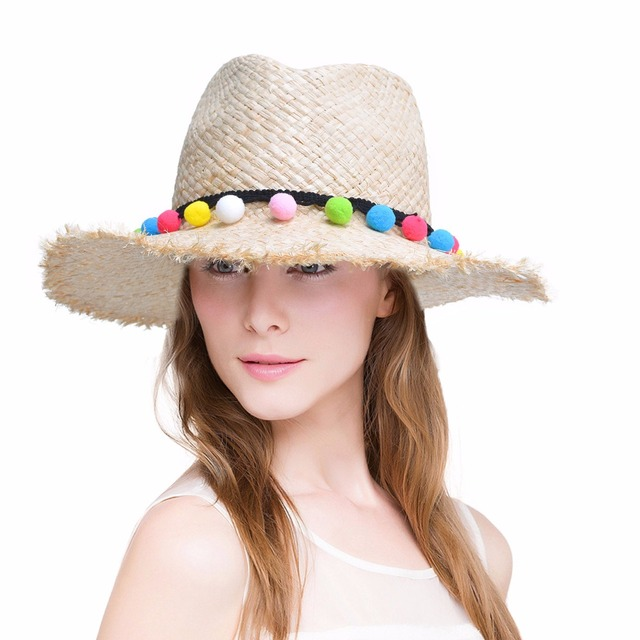 766dfdf77f9d30 Women Sun Hat Rainbow Pom Pom Trim Natural Raffia Woven Wide Brim Straw  Fedoras Kentucky Derby Floppy Beach Hats for Women