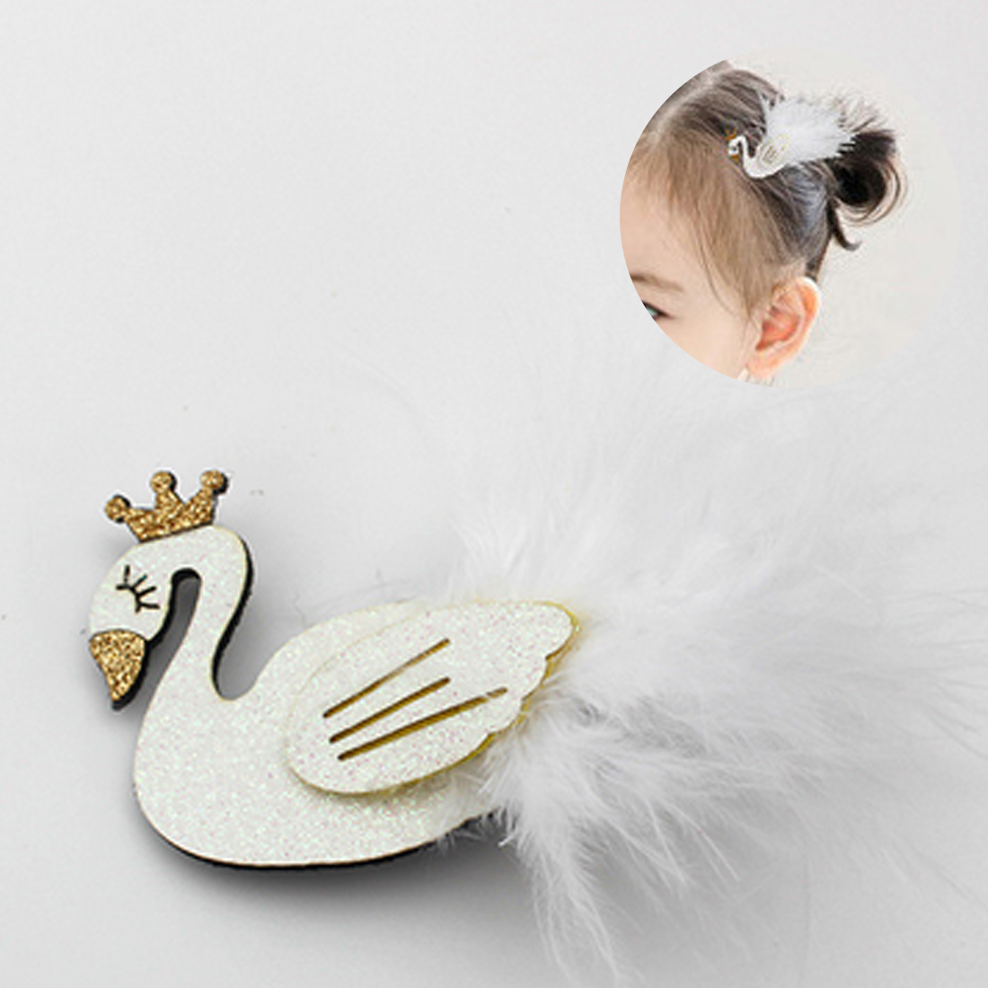 Cute Cartoon Black And White Swan Baby Hairpins kids Hair Clips Princess Barrette Girls Hair Accessories Children Headwear baby cute style children accessories hairpins rabbit fur ear kids girls barrette lovely hair clip