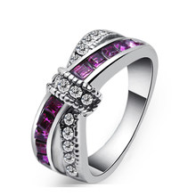 1 Pc Fashion Women Men Purple Stone Crystal White Gold Finger Cross Ring Charm Jewelry Size 6-10 Nice Gift For Women Girls(China)