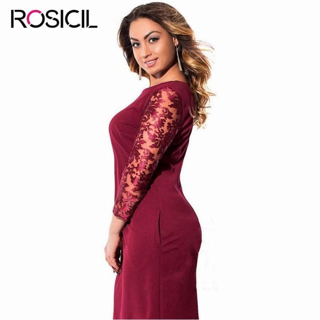 New Elegant Mesh Sleeve Plus Size Women Casual Office Dresses Big