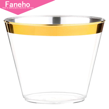 100 Gold Plastic Cups - 9 Oz Disposable Gold Rimmed Plastic Tumblers For Party Holiday Wedding and Occasions - Fancy Party Cups