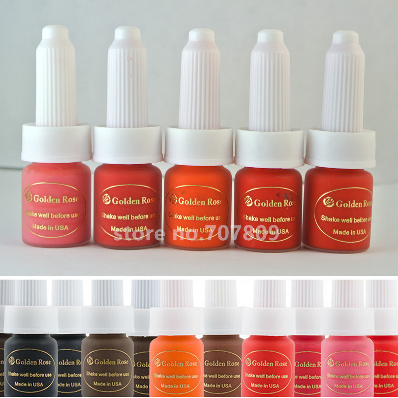 Gratis frakt 5 läppar Färg Golden Rose Permanent sminkbläck för ögonbryn Läppar Tattoo Golden Rose Colors