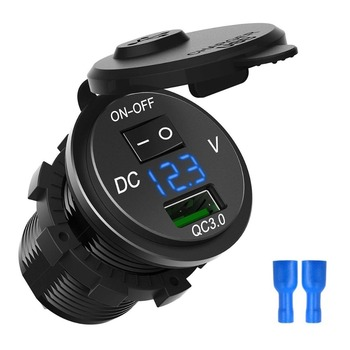 Quick Charge 3.0 USB Car Charger ซ็อกเก็ตโวลต์มิเตอร์ดิจิตอล USB Charger Socket กับสวิทช์ ON - OFF สำหรับรถรถจักรยานยนต์ ATV