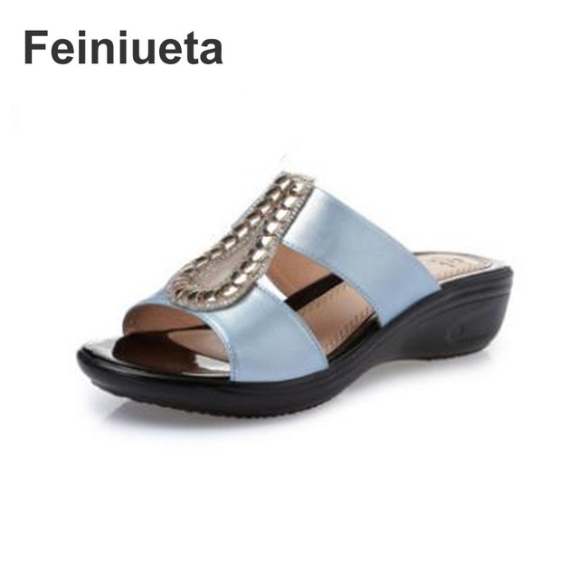 f9952cce657c2f Feiniueta2018 Summer New Women Sandals Wedges Flat Sandals   Slippers Brand  Fashion Sexy Ms. Sandals Mom Shoes plus size 35--43