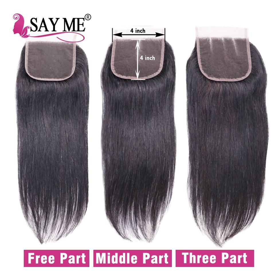 Human Hair 3 Bundles With Closure Brazilian Straight Hair Bundles - Menneskehår (sort) - Foto 5